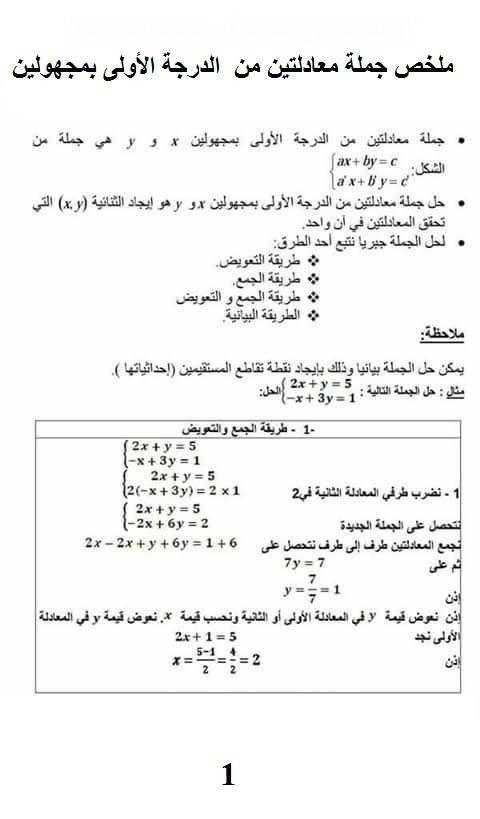 ملخص جملة معادلتين الدرجة الأولى 1.jpg