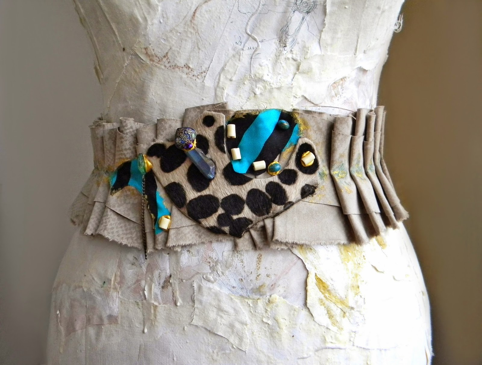 Textile Ruffled Sash Waist Belt with beads and Spotted Animal Print Leather