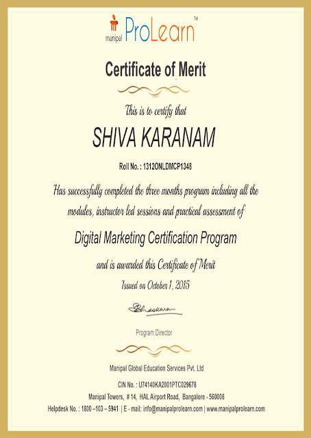Karanam Shiva Certified in Digital Marketing - merit certificate comments