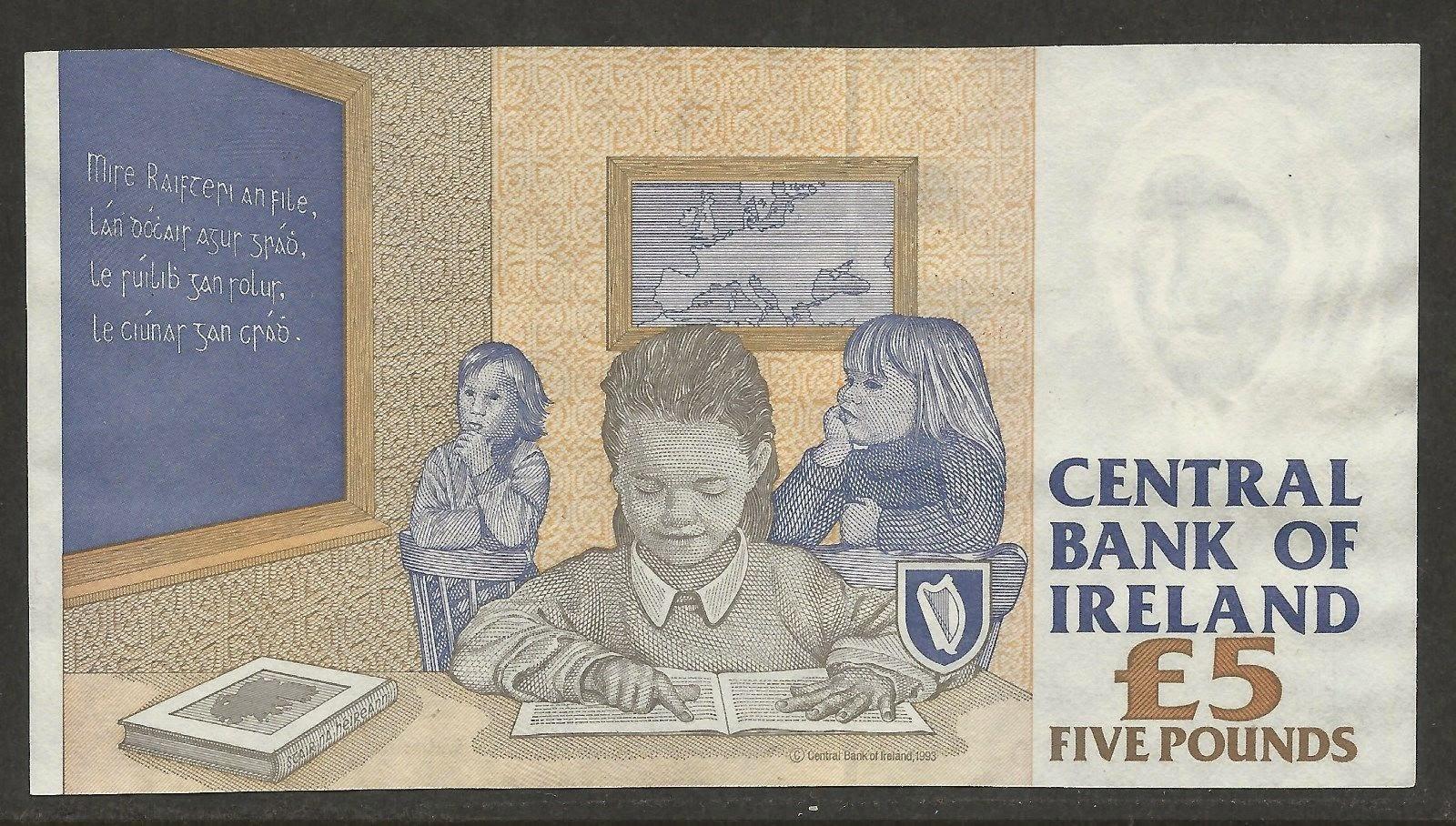 Currency Ireland 5 Irish Pounds banknote bill