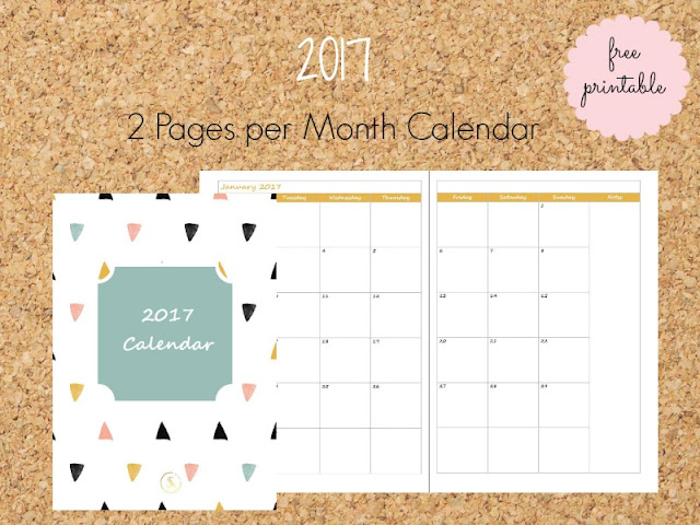 2017 Monthly free printable Calendar 2 pages per month - Ioanna's Notebook