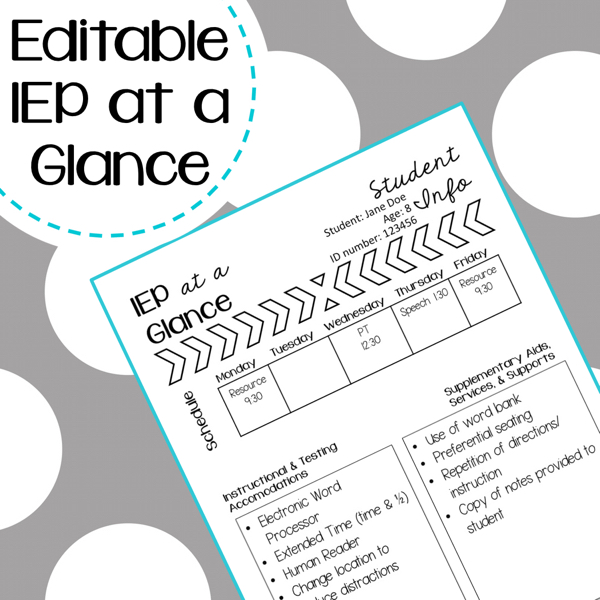 iep at a glance template - students with ieps tips to collaborating with service