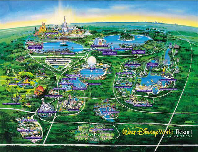 خريطة عالم ديزني لاند فلوريدا Walt Disney World Florida Map