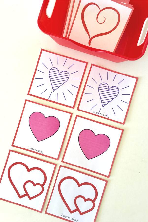 FREE printable Heart matching cards for toddlers and preschoolers to play Valentine's Day games. Great visual discrimination practice with hearts!