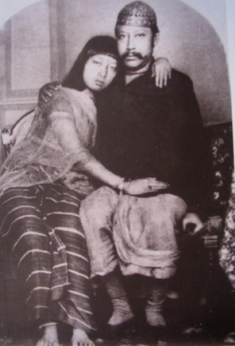 Maharaja Birchandra of Tripura self-portrait with his wife Monomohini - c1880's