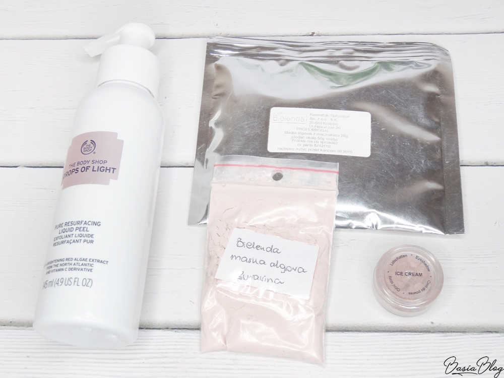 The Body Shop Liquid Peel, Bielenda maska algowa peel off, Annabelle Minerals Ice Cream
