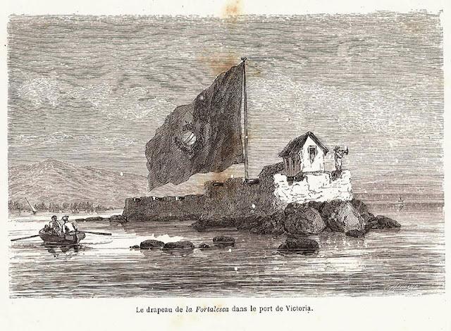 Bandeira do forte no porto de Vitória.