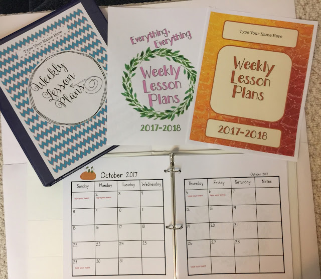 teacher binder, weekly lesson plans, newsletters, calendars, elementary school