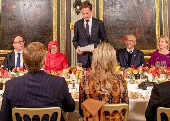 Queen Maxima wore a printed stretch-crepe jumpsuit by Etro. Queen Maxima wore Etro Printed stretch-crepe jumpsuit. Prime Minister Mark Rutte