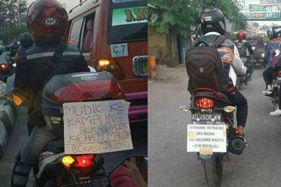 Foto: Tulisan Nyeleneh di Motor Pemudik Ini Bikin Seru Dijalan