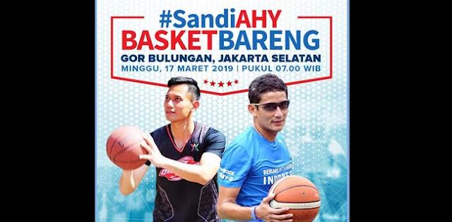Sebelum Hadapi Maruf, Sandiaga Main Basket Dengan AHY