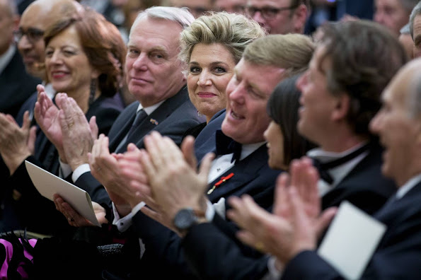 Queen Maxima and King Willem-Alexander during a concert with Pesident Hollande at the Petit Palais
