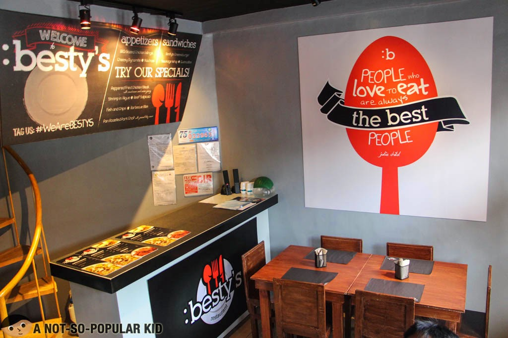 Besty's Restaurant - the interior and the lovable quote