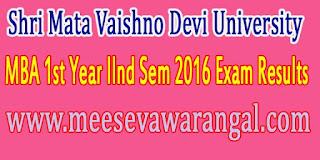 Shri Mata Vaishno Devi University MBA 1st Year IInd Sem 2016 Exam Results