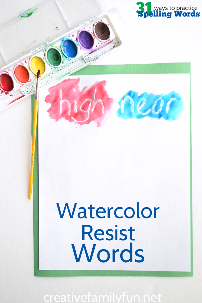 Use watercolor resist to practice your spelling words. It's a fun way to combine art with writing.
