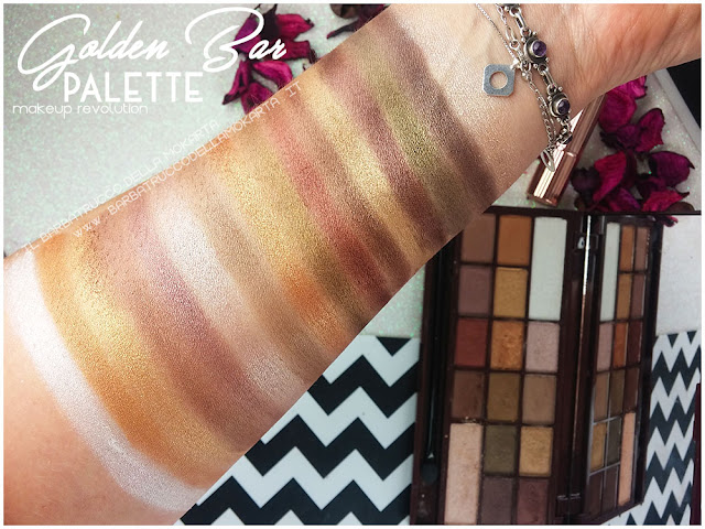 golden Bar makeup revolution palette choccolate swatches