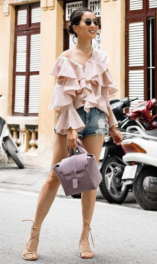 summer fashion trends | blush ruffle blouse + shorts + bag + lase up sandals