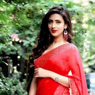 Bidya Sinha Saha Mim In Red Saree Pic