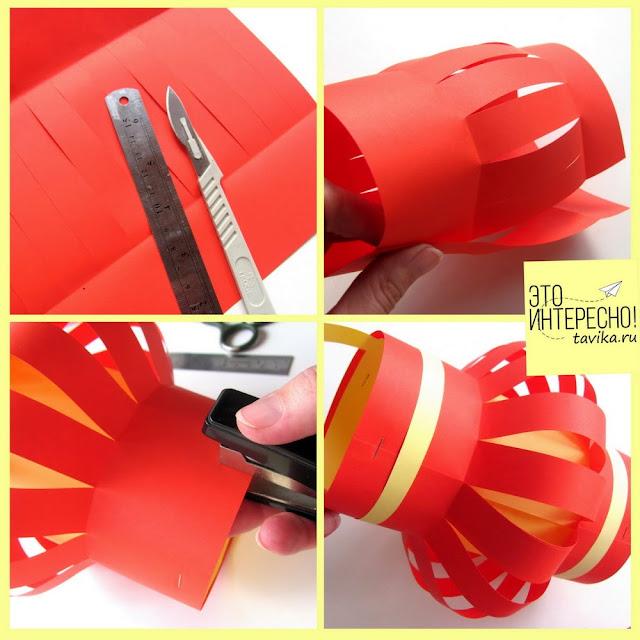 как делать китайский фонарик из бумаги