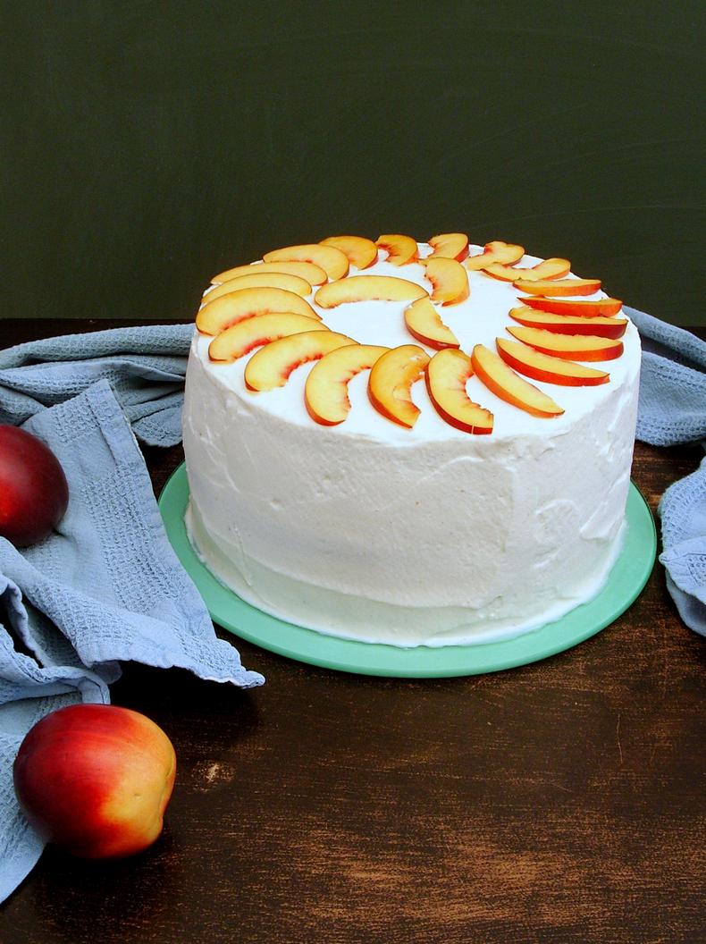 vanilla cake + mascarpone frosting + fresh nectarines