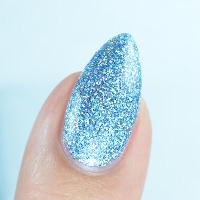 blue holo nail polish close up