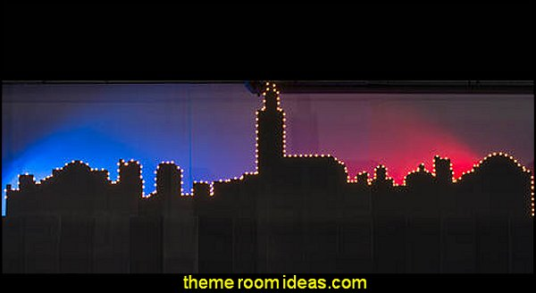 Lighted Moroccan Skyline Silhouette