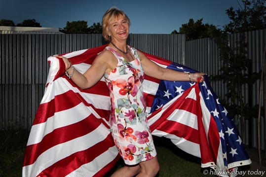 Robin Jones, Napier, an American who voted for Donald Trump in the US Presidential election, wearing the American flag, Flag of the United States of America, Old Glory, The Stars and Stripes, The Star-Spangled Banner. photograph