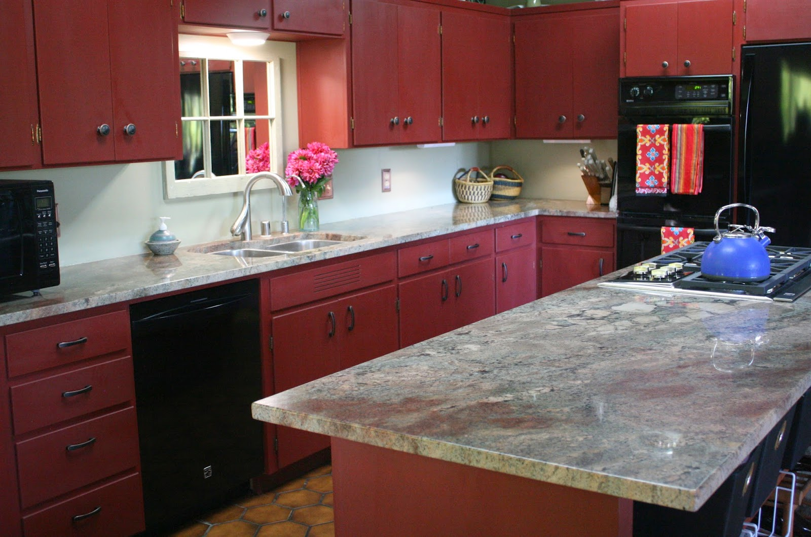 Images Yellow Kitchen With Red Above Kitchen Cabinets
