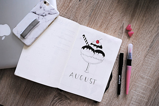 august cover page bullet journal