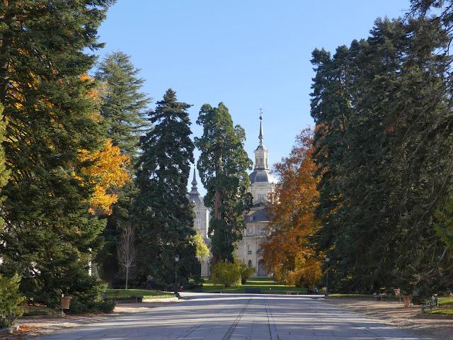 Paseo arbolado con palacio al fondo