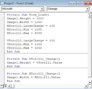 Source code VB 6.0 HScrollBar dan VScrollBar