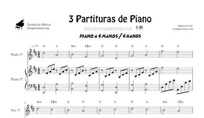 3 Partituras de Piano a 4 Manos Partitura de Up BSO, Tarantella Napolitana y Song of Healing de Legend of Zelda