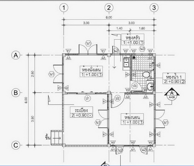 These small house plans consist of 1 bedroom, 1 bathroom, small kitchen, and a living room. The total area of these houses is 56 square meters below. The budget for the construction is starting at 200,000 Thousand Baht ( 6,200 USD). Let's take an idea to use it as you like it.