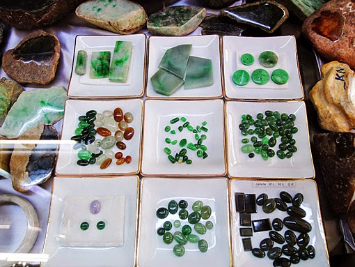 Jade cabochons and variants with green black and more colors.