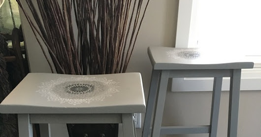 Soft Grey Saddle Stools With Fun Mandala Stencil