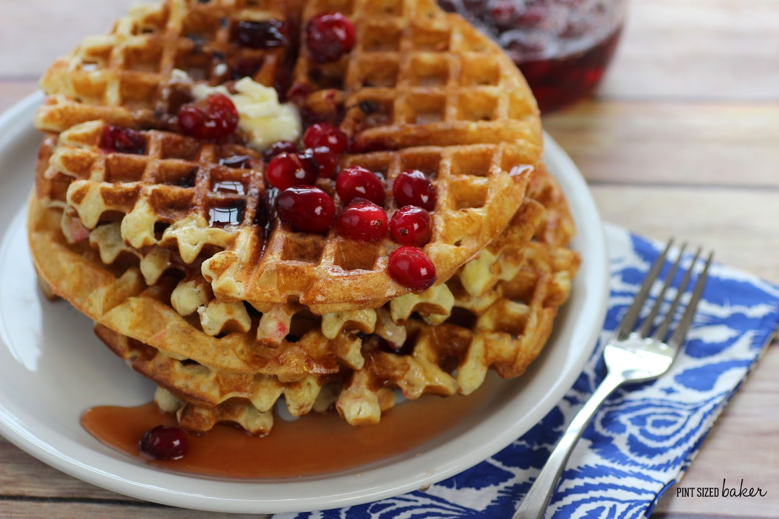 "Tart Cranberries ready to ""pop"" in your mouth. They aren't too tart cooked in these waffles."