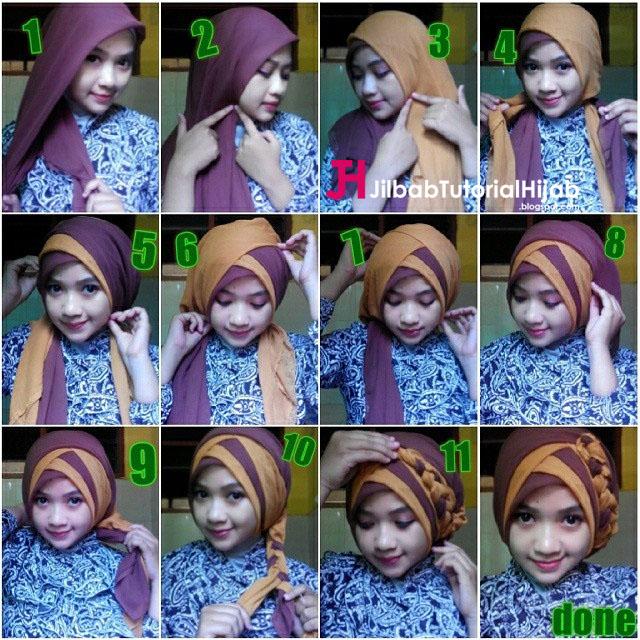 buah jilbab yang warnanya berbeda dan dengan style model hijab turban Tutorial Hijab Segi Empat 2 Warna untuk Wisuda dan Lebaran