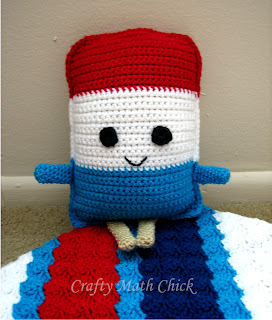 Patriotic Popsicle ragdoll crocheted by Crafty Math Chick; Pattern by Sarah Zimmerman of Repeat Crafter Me