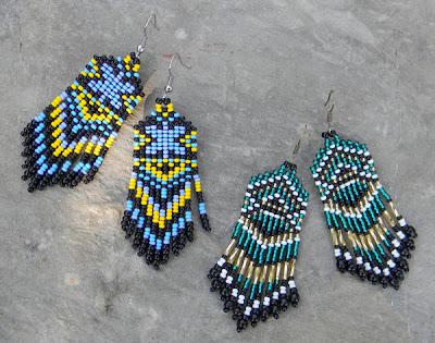 Этнические серьги из бисера с бахромой. Летние яркие серьги ручной работы