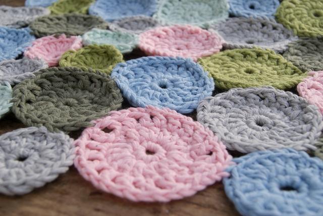 Häkelkreise aus Baumwolle nah