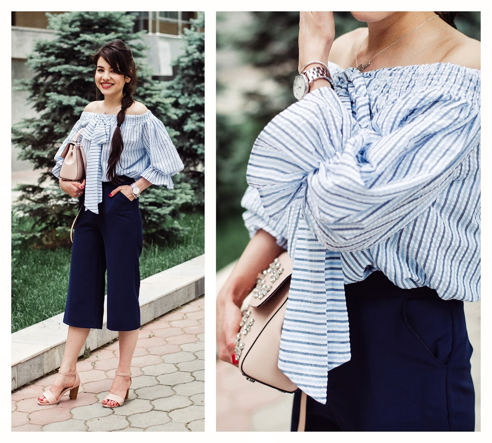 fashion blogger diyorasnotes diyora beta off shoulders top stripped top culottes rink sandals michael kors bag