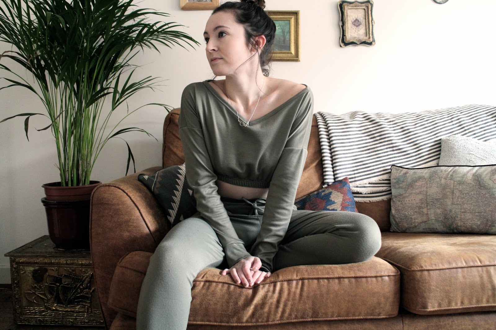 Blogger wearing khaki loungewear co-ord set