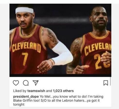 Carmelo Anthony và LeBron James sẽ cùng nhau chống lại Golden State Warriors?