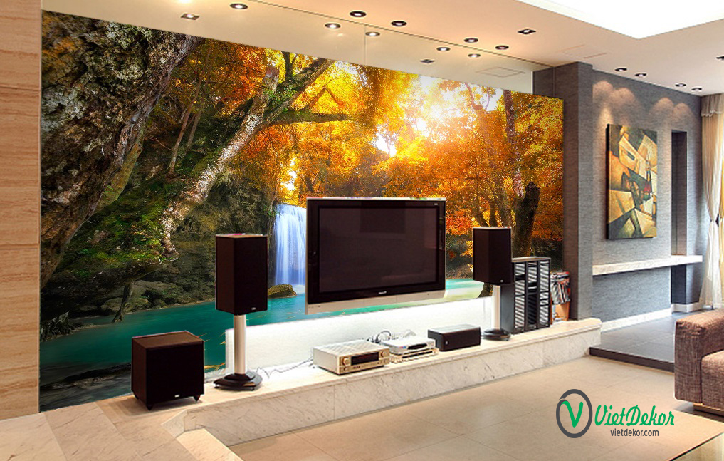 Tranh dán tường 3d phong cảnh rừng cây