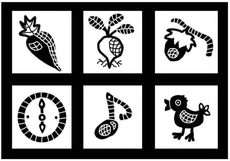 Illusztráció gyerekvershez, fekete-fehér répa, retek, mogyoró, korán reggel ritkán rikkant a rigó logopédiai célú mondóka tartalmi elemeiről.
