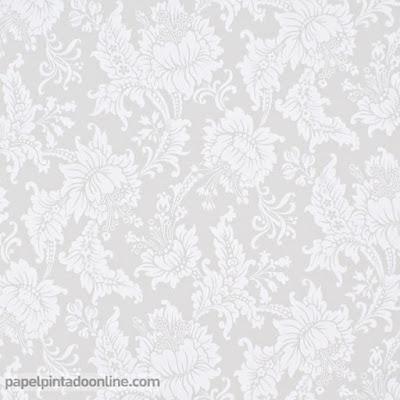 Papel Pintado Flores Clásicas Grises ref. 5292-2