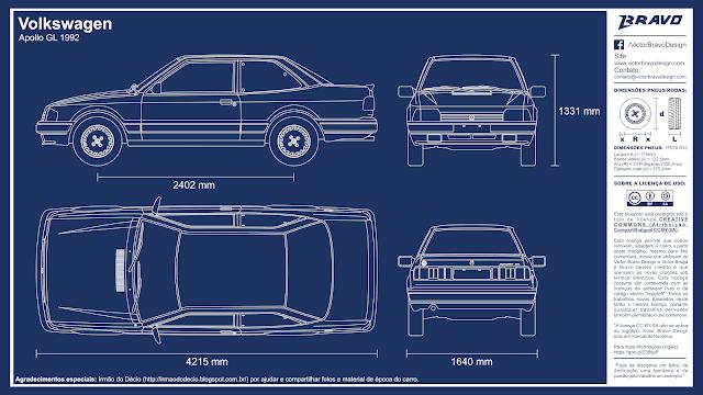 Imagem mostrando o desenho do blueprint do Volkswagen Apollo GL 1992