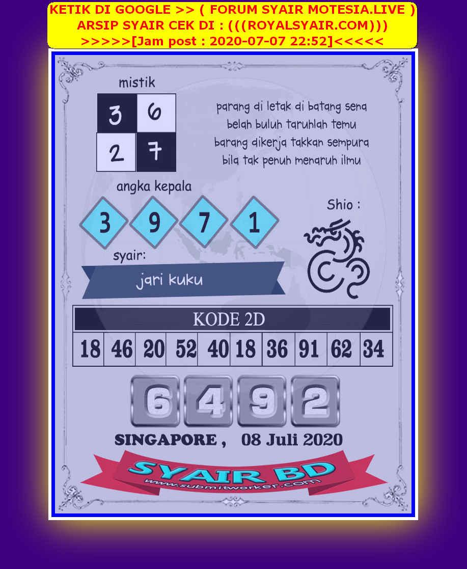 Kode syair Singapore Rabu 8 Juli 2020 226