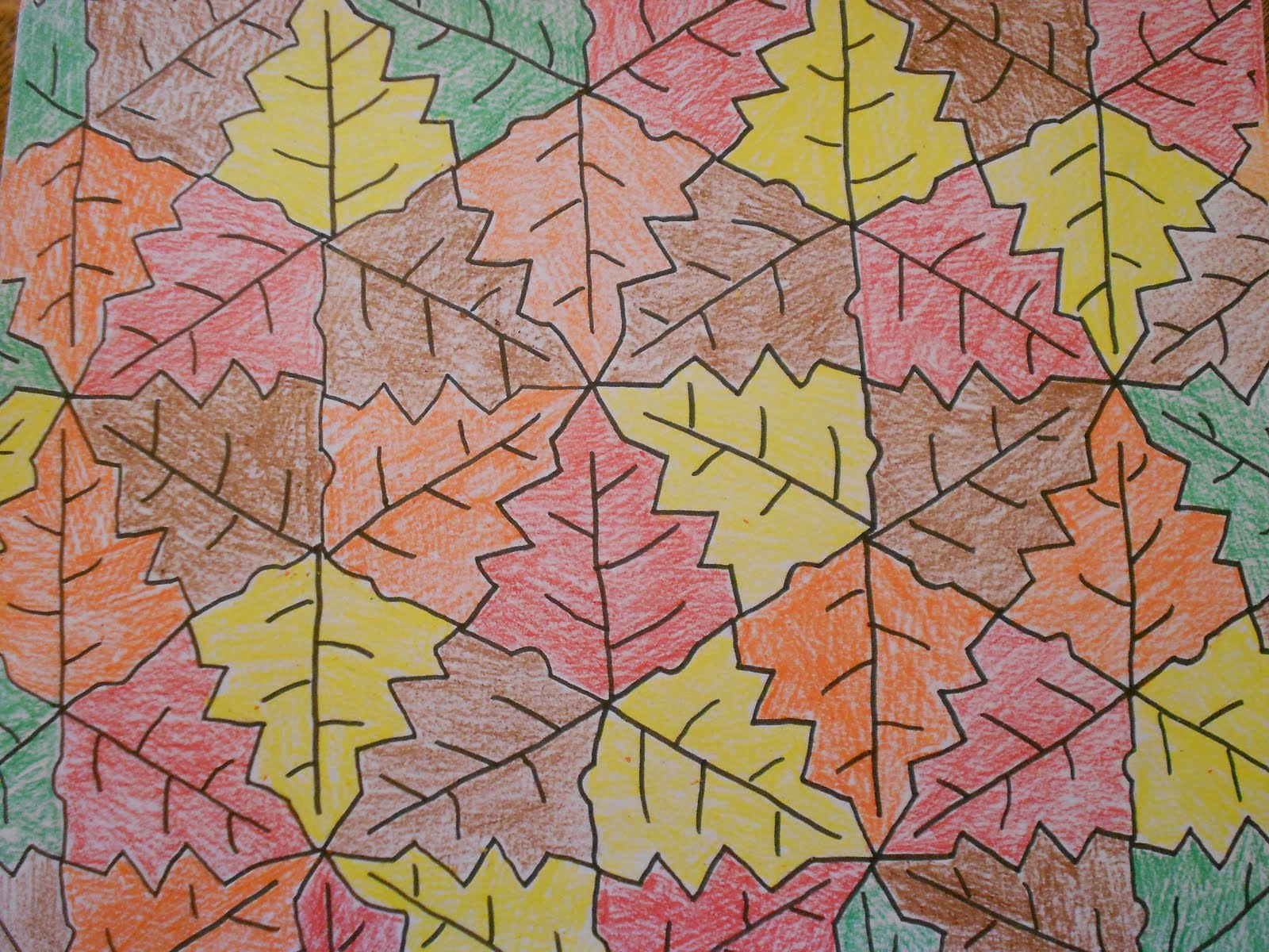 Almost Unschoolers Fall Leaf Tessellation Coloring Sheet
