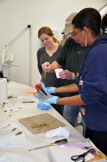 Teachers experiment with bloodstain transfer from hands and weapons.